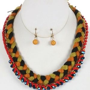 Jewelry - Braided Yard Bib Necklace and Earring Set Blue